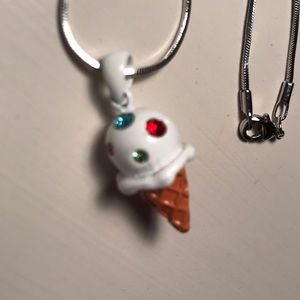 Other - Enamel stoned ice cream cone pendant on necklace